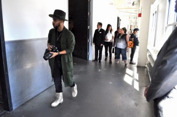 Andrew between shows at NYFW. Photo by Kathleen O'Neill