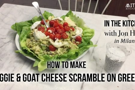 How to Make Veggie & Goat Cheese Scramble Eggs on Greens